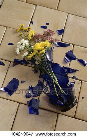 Picture Of Broken Flowers Tiles Vase Still Life Fallen