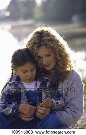 stock photo of people water mother outdoors hugging family hug