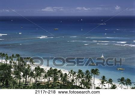 Waikiki Beach Honolulu Oahu Hawaii Usa Stock Photo