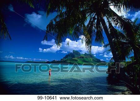 Woman On The Beach Bora Bora Lagoon Resort Bora Bora