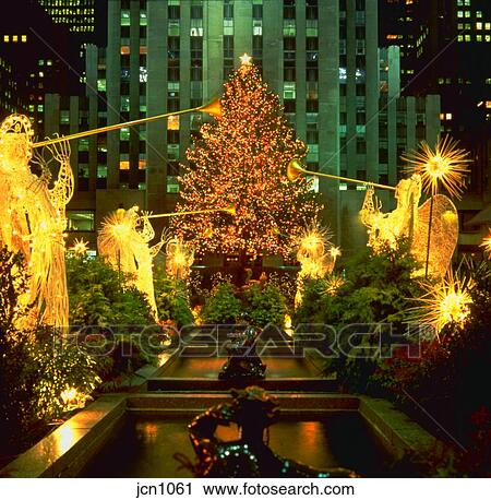 Christmas Tree And Angel Figures At Rockefeller Center At Night New
