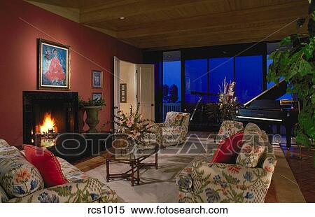 Stock Image Of Interior View Of A Traditional Colonial Style Living