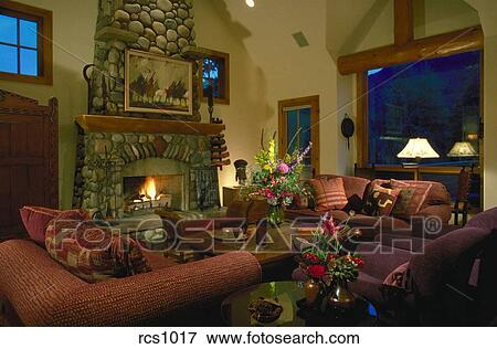 Interior view of a Western-style chalet living room with a ...