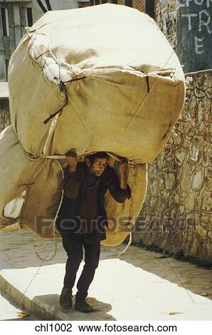 Stock Photo of Porter carrying immense load, Kathmandu, Nepal. chl1002 - Search Stock ...