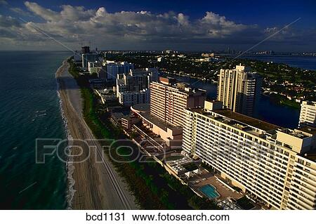 Aerial View Of Miami Beach Florida In Early Morning Sunshine With The Atlantic Oean And Intercoastal Waterway