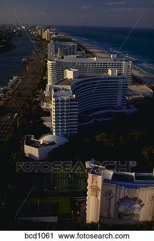 Aerial View Of Miami Beach Florida Showing Highrises The Atlantic Ocean And Intercoastal Waterway