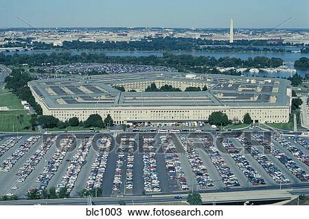 Oblique Aerial View Of The Pentagon And Its Vast Parking Lots Washington DC Lies Beyond Behind Potomac River