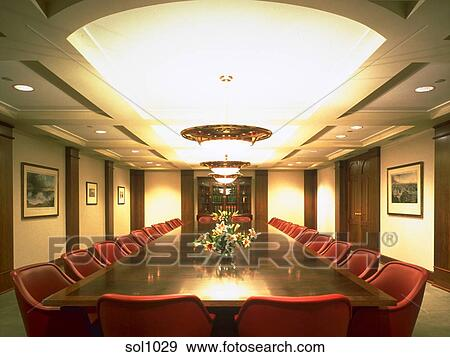Stock Photograph Of An Executive Meeting Room With A Large Wooden - Large wooden conference table