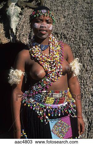 Portrait Shot Of A Partially Naked Zulu Tribe Woman In South Africa