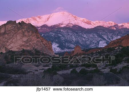 Colorful Sunrise Glow On Pikes Peak From Garden Of The Gods