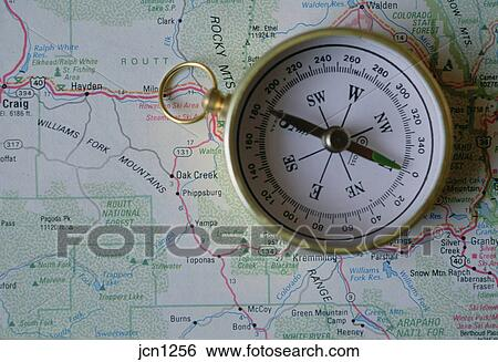 Compass over map of US mountain states. Stock Photograph ...