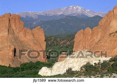 Pikes Peak Framed By Gateway Rocks Sandstone Formation In