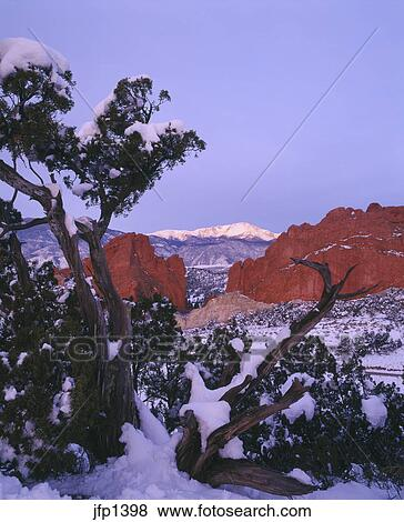 Winter Sunrise On Pikes Peak Over Garden Of The Gods City