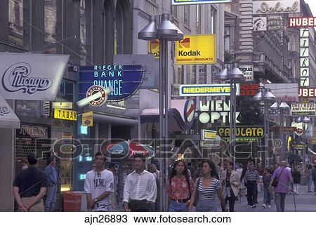 Vienna Austria Wien Shops Along Karntner Street In Downtown