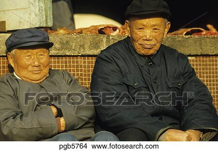 Stock Photo Of China Old Men Wearing The Traditional Mao