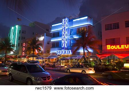Miami Beach Florida Usa The Colony Hotel At Night On Ocean Drive In South Neighborhood Known For Its Art Deco Architecture