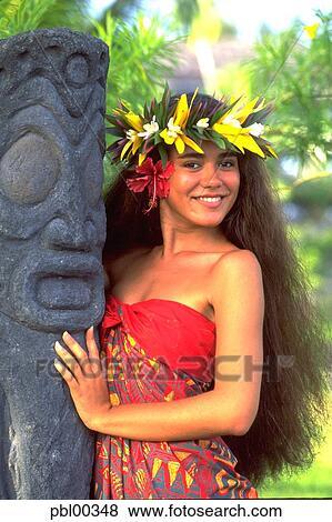 Polynesian Woman French Polynesia Stock Photo Pbl00348 Fotosearch