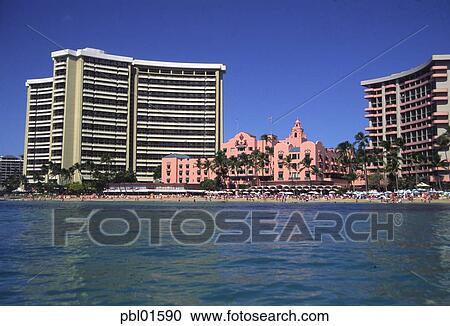 Royal Hawaiian Hotel Waikiki Beach Oahu Hawaii Stock