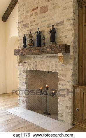Verbazingwekkend Een, steen, openhaard, mantel, en, statuary, in, een, woonkamer QV-05