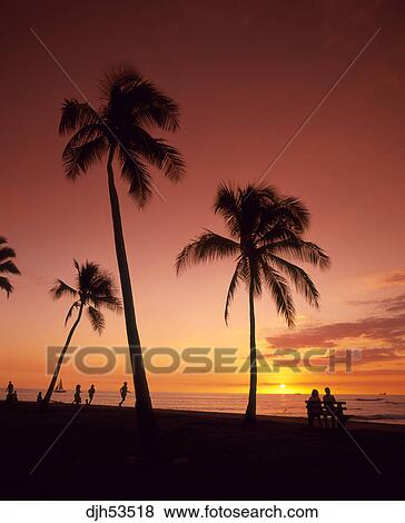 U S A Hawaii Honolulu Waikiki Beach Sunset Stock Photo