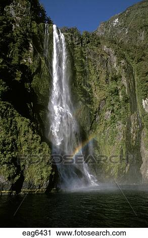 Sterling Falls Drops 151 Meters Into Milford Sound Actually