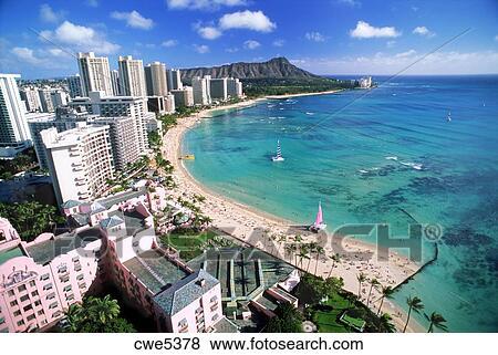 Waikiki Beach And Diamond Head With Beachfront Hotels And Catamarans On Oahu Island In Hawaii Stock Photo