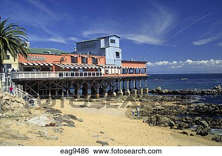 The Fish Hopper Restaurant Sits Over Monterey Bay On Historical Cannery Row California