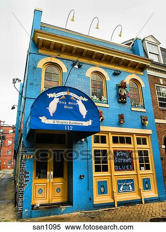 Stock Image View Of King Street Blues Restaurant In Old Town Alexandria Va
