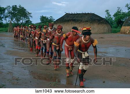 Banco de Imagem - Kuikuro, tribo, guerreiros, dança, chuva