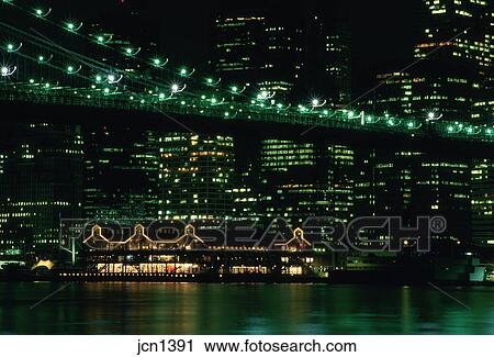 Night Time Skyline Scene Of The Financial District South Street Seaport New York City Ny Stock Image Jcn1391 Fotosearch