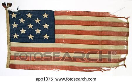 Stock Image of Worn out U.S. Flag with 13 stars ...