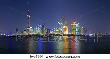 Panoramic Night Time Pudong District Skyline Overlooking