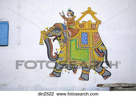 Wall Painting Royal Elephant And Mahout Traditional Wall Decoration In Semi Urban Village Dilwara Udaipur Rajasthan India Stock Image