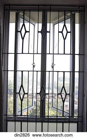 Window Grill Design As Openness Calcutta Now Kolkata West Bengal India Stock Photograph