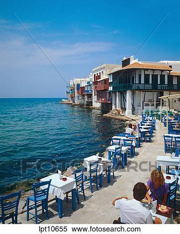 Banque D 39 Image Restaurant Terrasse Par Les Bord Mer Petite V Nise Mykonos Ile Cyclades