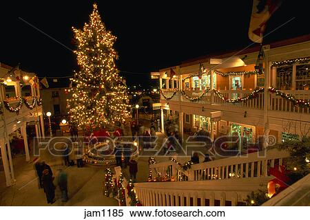 stock image of christmas decor at night in old town albuquerque new
