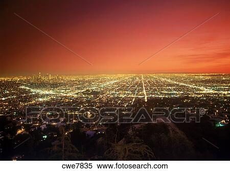 Los Angeles Civic Center And City Lights At Dusk From Griffith Park  Observatory