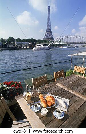 Stock Photography Of River Seine Houseboat With Coffee And Baguette