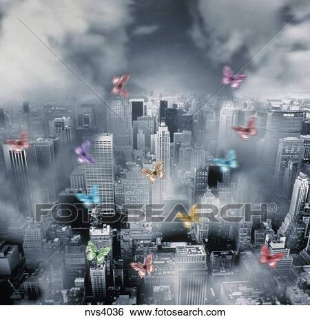 Computer generated image of colorful butterflies flying over a polluted  large city  Stock Photograph