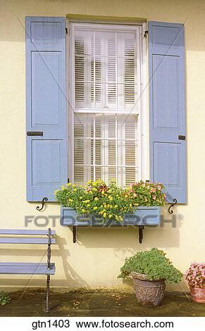 Nahaufnahme Von A Hübsch Hausfassade Mit Fensterlaeden Fenster Kasten Und Bank Malen Licht Blue Stock Bild