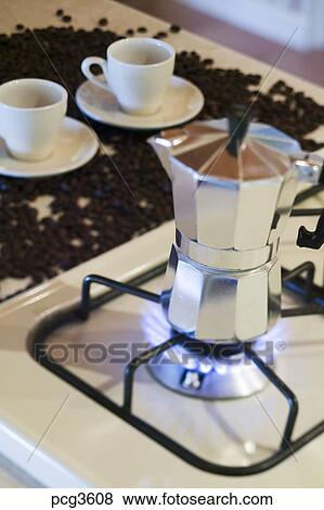 Espresso Coffee Maker On A Natural Gas Stove Burner