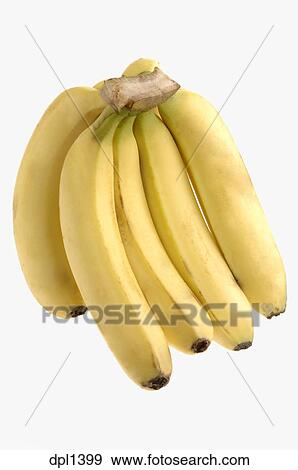 Five Photographs Of Banana In Seach Of >> Stock Photograph Of Fruit One Yellow Banana Bunch Five Pieces With