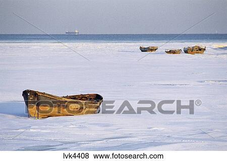 Boat And Snow Covered Beach Beidaihe