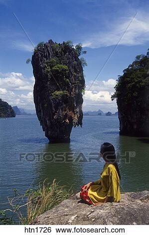 Thailand Phangnga National Park James Bond Island Stock Photograph