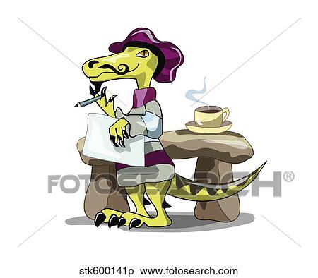 イラスト の A Raptor 詩人 Thinking イラスト Stk600141p