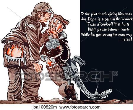 型 第二次世界大戦 ポスター の A 漫画 パイロット 窒息 A 射撃手 保有物 A 機械 Gun イラスト Jpa1000m Fotosearch