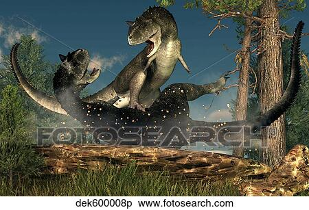 stock illustration of a couple of carnotaurus dinosaurs fighting