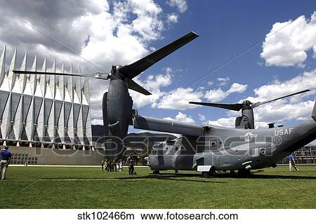 A CV 22 Osprey sits on display at the U. S. Air Force