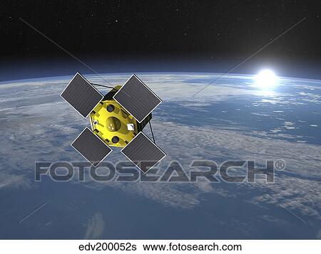 stock illustration of acrimsat satellite orbiting earth and rising