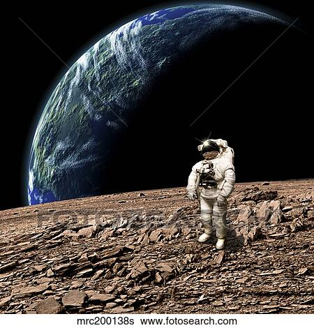 An Astronaut On A Barren Planet With Earth Like Planet In Background